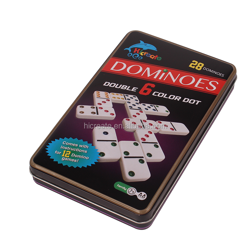 High quality factory price double 6 domino blocks in tin box domino sets