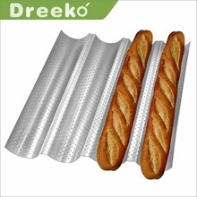 Non-stick French Bread Pans loaf baking pan Silver wave baking mold perforated Baguette pan