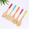 Set of 5 Cooking Utensils Natural Bamboo Kitchen Slotted Spatula Spoon Dinner Food Rice Wok Shovels with colorful handles