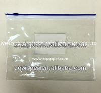 Transparent PVC plastic file zipper bag with card pocket