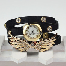 New 2014 Fashion Casual Watch Angel Wings Analog Crystal Rivet Women's Wristwatches Steel Case Ladies Quartz watches