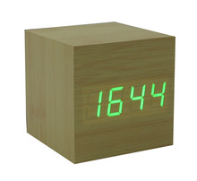 Desktop Table Clocks zogift Digital LED Square Alarm Wood Wooden clock with temperature display and voice control function