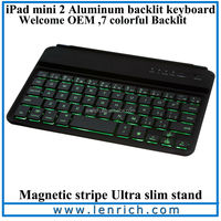 LBK142 For ipad mini bluetooth keyboard 2013 new hot selling luxury ultrathin Alloy aluminum with LED backlit keyboard stand