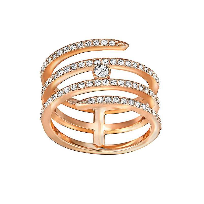 18kt rose gold creativity coiled AAA cubic zirconia tat ring jewelry