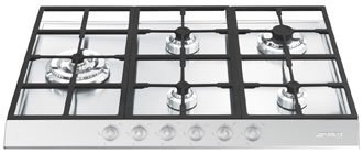 "SMEG PTS727-5 ""Linear Series"" St/Steel 72CM Gas Hob,"