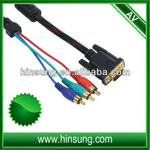 Wholesale!High quality !! 3 rca to vga av audio vedio cable