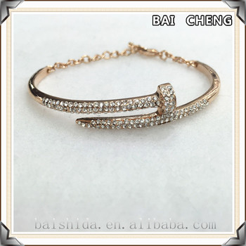2016 Stylish Nail bangle chain bangle Rose gold stainless steel bangle
