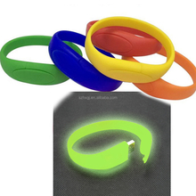 big discount!!! Glow in the dark USB Flash Memory Drive 4GB bracelet wrist band