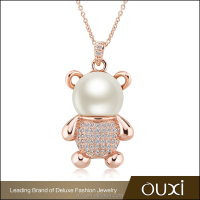 OUXI factory price zircon diamond bear modern latest design pearl necklace11297-1