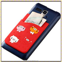 2016 popular cartoon silicone card holder Smart wallet For phone