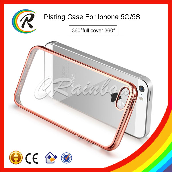 OEM Slide-on Metal Bumper + Electroplated Plate TPU Back Case for iPhone 5