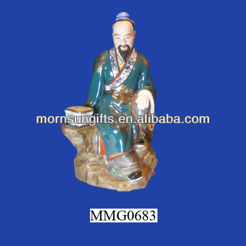 Chinese figurine impressed vase decoration