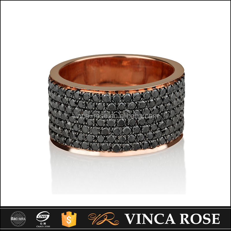 Modern style solid gold 18k cheap wedding ring black ring