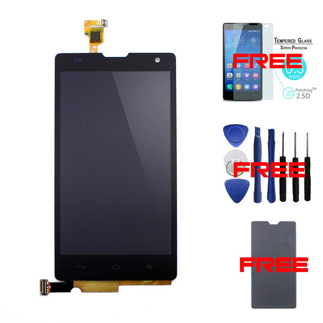 Black-100% Original For Huawei Ascend Honor 3C G740 LCD Display+Touch Screen Digitizer Assembly Replacement +tempered glass