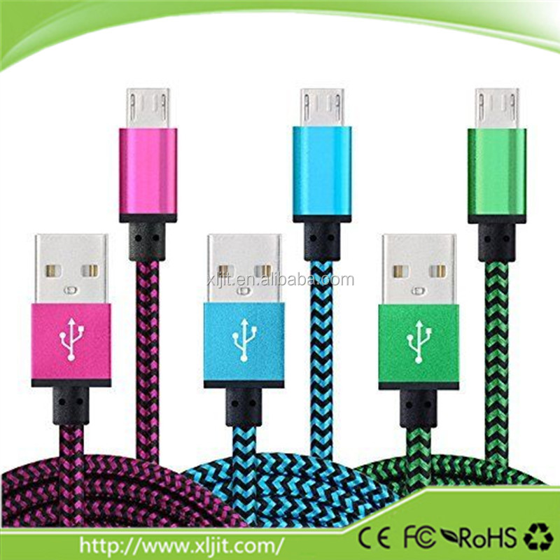 2M Braided Aluminum Micro USB Data Sync Charger Cable Cord For Android Phone