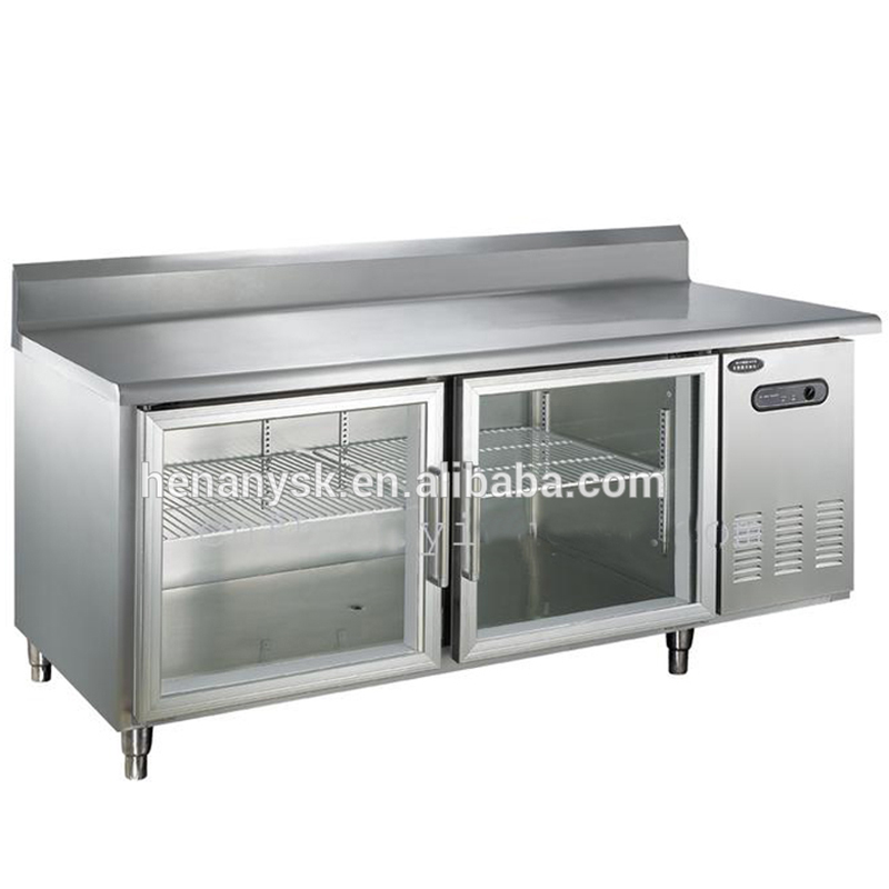 1.5m length storage refrigeration stainless steel Glass 2 doors refrigerator under counter workbench table