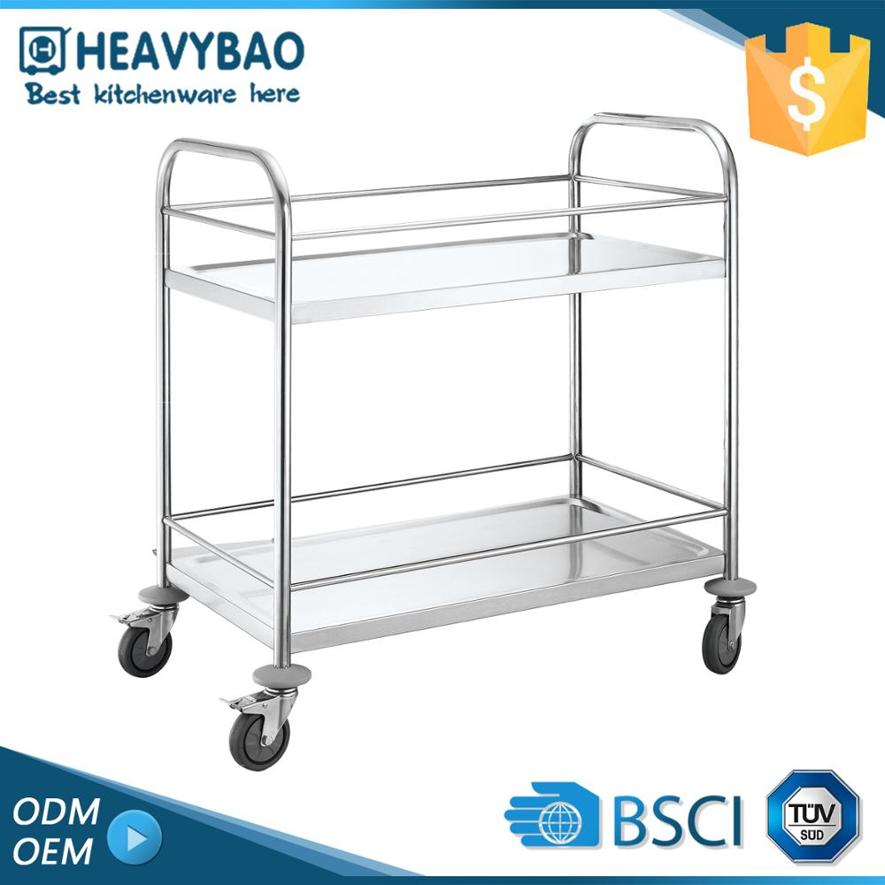 Heavybao Stainless Steel Knocked-down Movable Mini Food Cart Kitchen Trolley Design