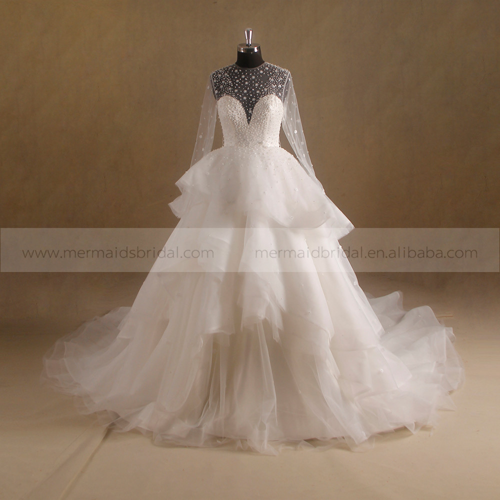 Nectarean Shiny Bodice Ruffle Ball Gown Deep Neckline See Through Back Wedding Dress Long Tail