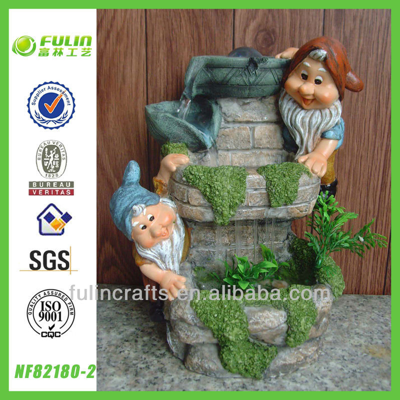 Indoor Floor Gnome Resin Fountain Water Decor Fountain