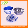 Chinese porcelain blue and white style plastic and stainless steel bowl