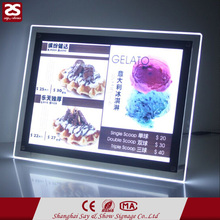 Wall mounted crystal acrylic super slim advertising led light box illuminated led display board