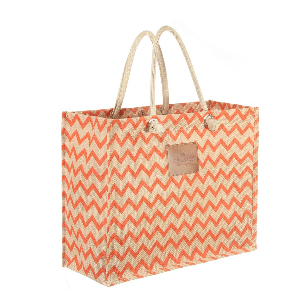 colorful printing burlap bags with handles shopping tote packing bag