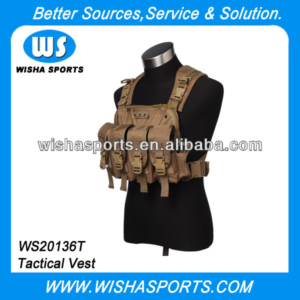 High Density Nylon Material Tan Army Military Equipment Airsoft Security Tactical Carry Chest Rig Vest with 6 Magazine Pouches