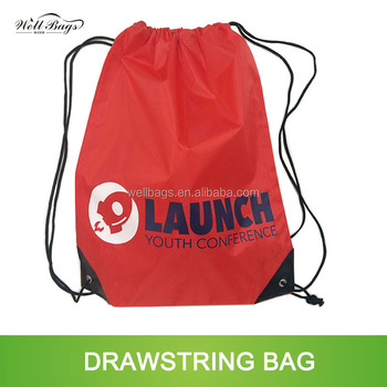 custom silkscreen logo waterproof 210D nylon polyester pull string drawstring bag with metal eyelets PU leather
