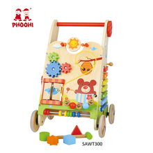 Wholesale multifunction rubber wheel learning toddler wooden push walker for baby 18M+