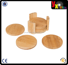 All Natural Round Bamboo Coaster, Set of 6 in Holder;