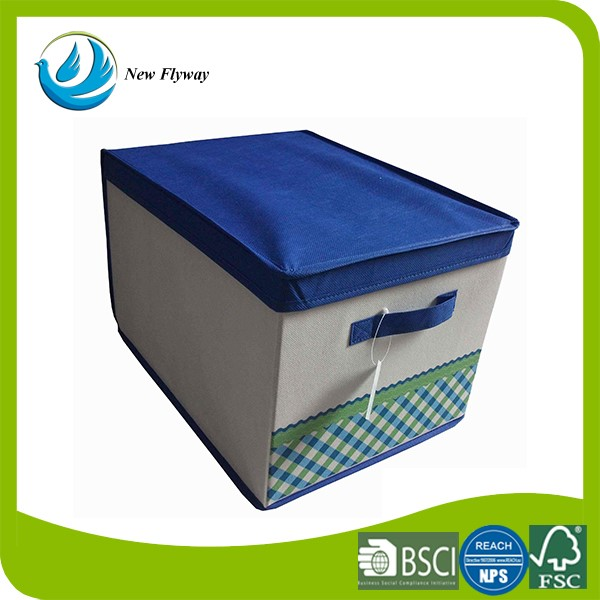 good quality blue cover storage container fabric stackable bin folding storage box with handle. Black Bedroom Furniture Sets. Home Design Ideas