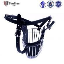 High Quality Handsome Adjustable PU Leather Dog Muzzle With Steel Wholesale