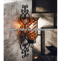 Wall Decor Mounted Mirrored Metal Mosaic Glass Candle Holder