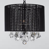 Black Modern Fabric Lampshade Pendant Lamps for Bedroom