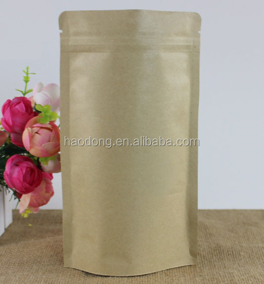 Chinese Factory Natural Kraft paper bag/Natural Kraft Foil Stand Up Zip Pouch