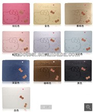 Cute Hello Kitty leather case for ipad mini with double bowknots