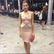 new arrival 2015 hot apricot sexy cutout backless halter bandage evening dress h1237