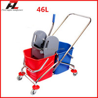 High quality 46L down press double floor cleaning trolley with wringer / mop wringer trolley for office building