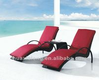 Hawaii Black double resin chaise lounge /beach chair with coffee table and cushions / for beach, swimming pool, outdoor