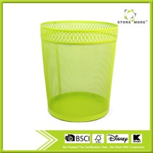 Hot sale round metal mesh waste bin for home and office/yellow promotional wastebin for household