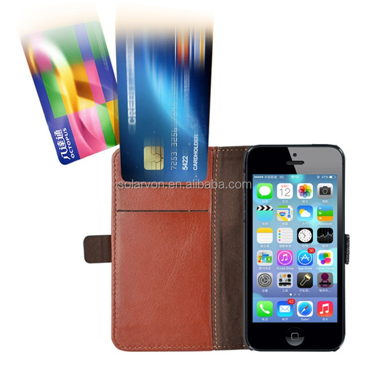 2016 Amazon hot Selling for iphone 5 wallet leather case