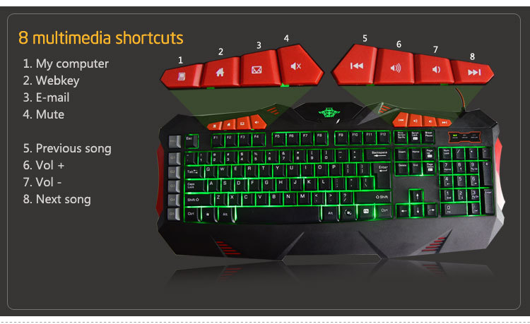 Special design custom Macro gaming keyboard 7 colors backlit keyboard for gaming players