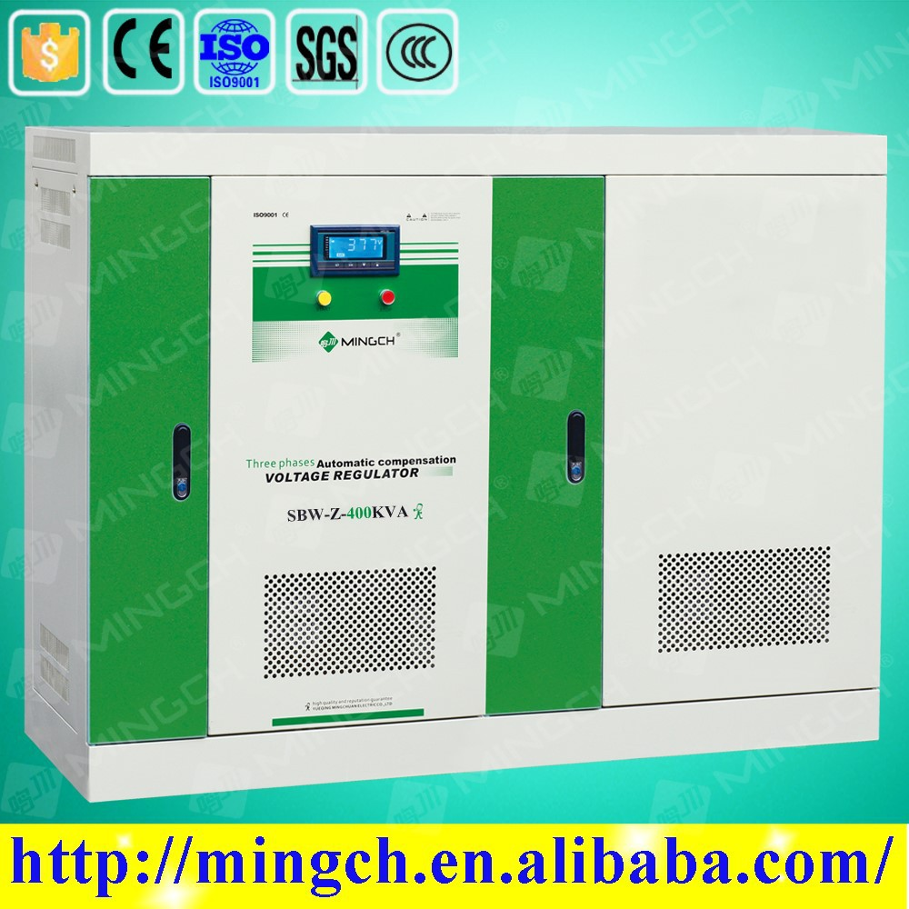 CE ROHS approved 400KVA SBW-Z series three phase compensated power supply voltage stabilizer