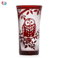Classical Printed cup double wall glass cup drinking glass for home decoration
