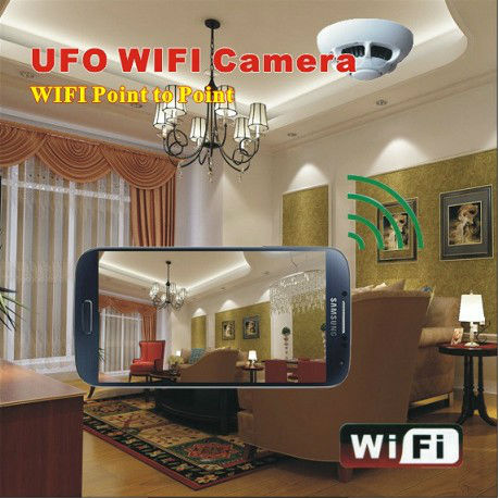 Iphone/Android smart phone p2p home security camera UFO camera wifi smoke detector camera