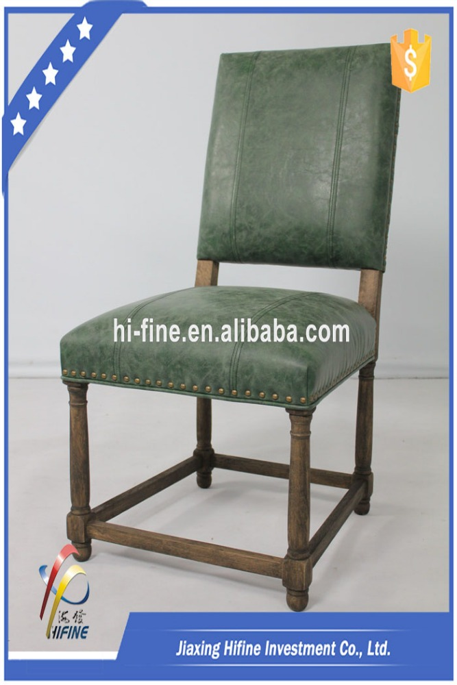SL-10048 French empire style high back antique dining chair with leather
