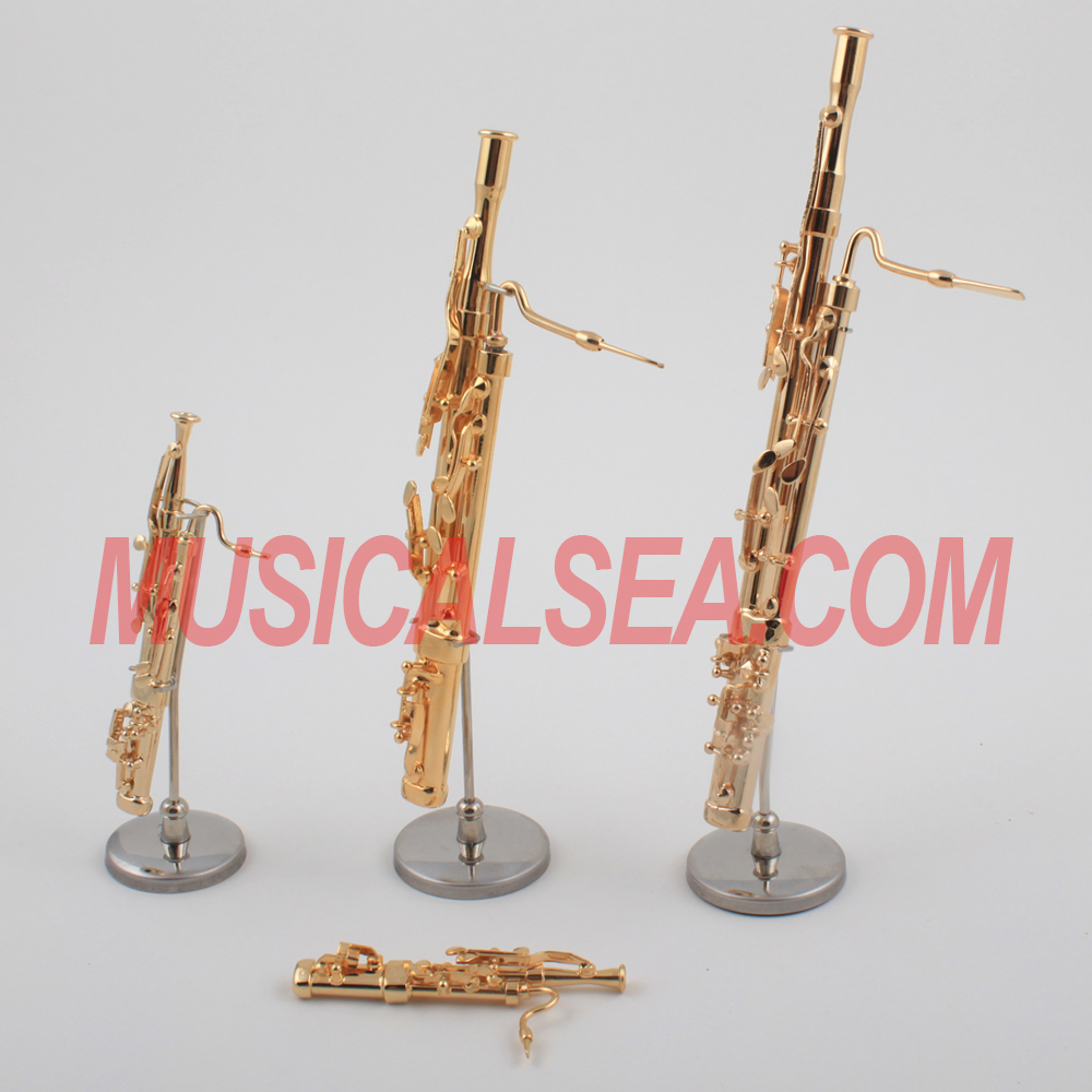 Miniature Golden replica Bassoon model Decorative musical instrument ornament for christmas