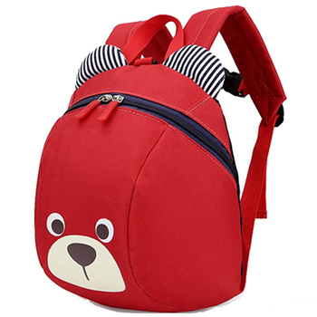 Cute cartoon animal lightweight kids school backpack with leash preventing loss string