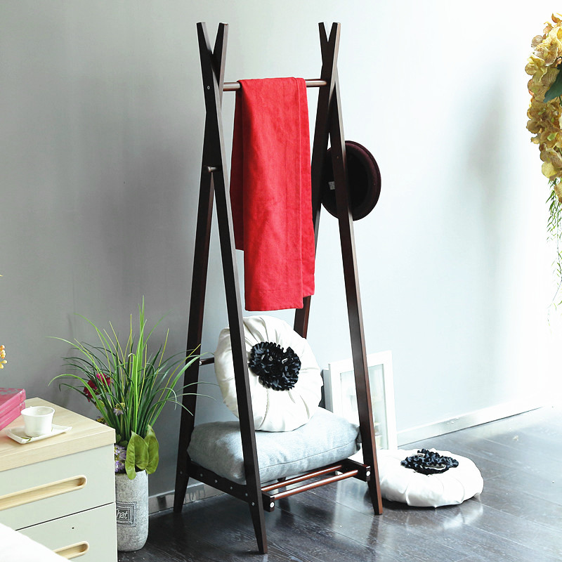 Coat rack simple style for bedroom clothes wooden frame
