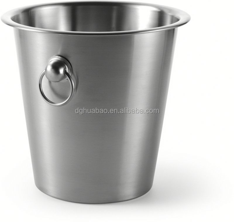 stanless steel ice bucket with glass holder